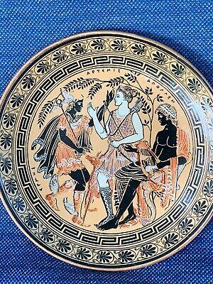 Vintage Greece Copper GREEK GODS Mercury Athena Zeus Plate UNIQUE  ▬ RARE ❤️m17
