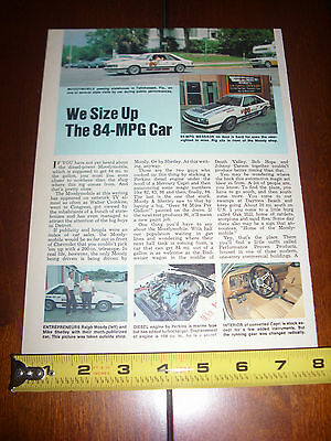 MOODYMOBILE 84 MPG PERKINS DEISEL CAPRI RALPH MOODY - ORIGINAL 1979 ARTICLE