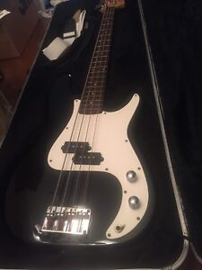 Stage bass guitar with hard cover case