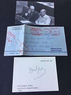 YIGAEL YADIN  († 1984) Stabschef der Streitkräfte Israel signed Karte 10x13,5