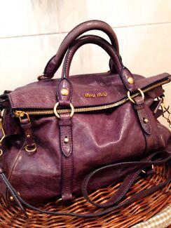 Quick Auth Miu Purple Leather Bow Tie Shoulder Hand Bag