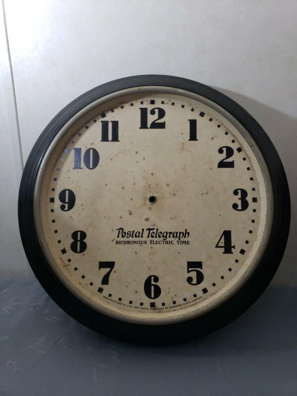 Face Only POSTAL TELEGRAPH Wall Clock~Hammond Clock Co~Bichronous Electric Time