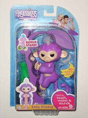 Purple Mia   Fingerlings Interactive Finger Pet Baby Monkey Real Fingerling New