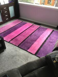 Floor Rug 220cm X 150 Cm Pink Purple Black