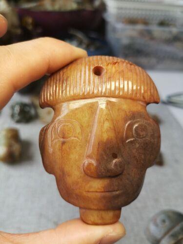 Chinese jade human face mask amulet human head jade pendant mask
