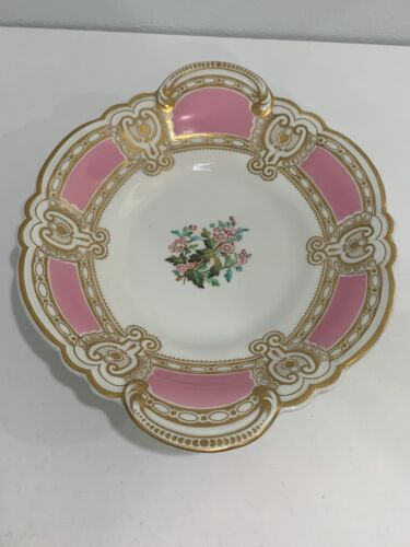 Antique English Porcelain Pink & Gold Floral Decorated Serving Compote Tray