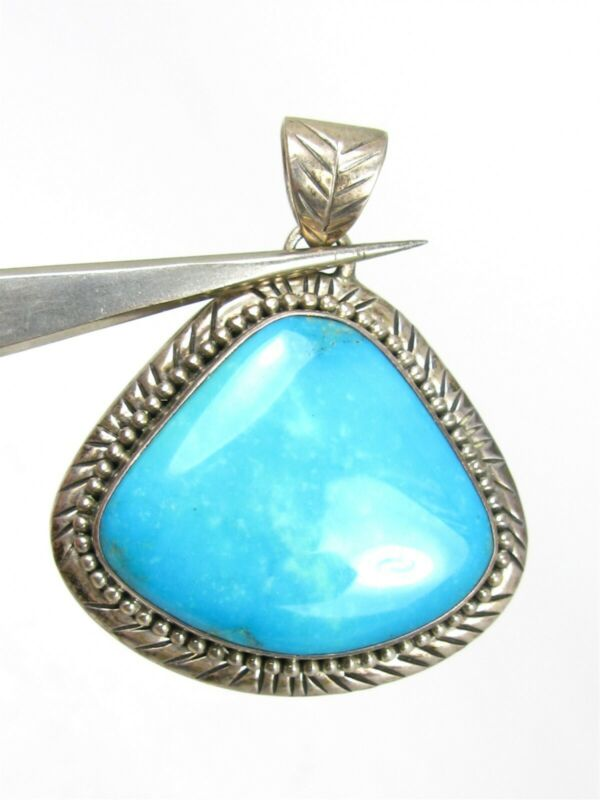 Vintage Sterling Silver Natural Turquoise Signed KZ Pendant 16.9g B29