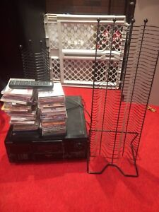 100 disc Sony CD player random cds and two towers