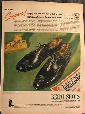 Regal Shoes~Easter Flair Wing-Tip Town Shoe~1947 Vintage Print AD A95