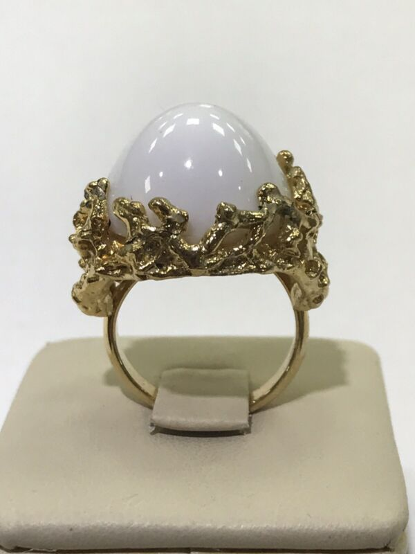 Napier Gold Tone with Large White Dome Stone Adjustable Ring