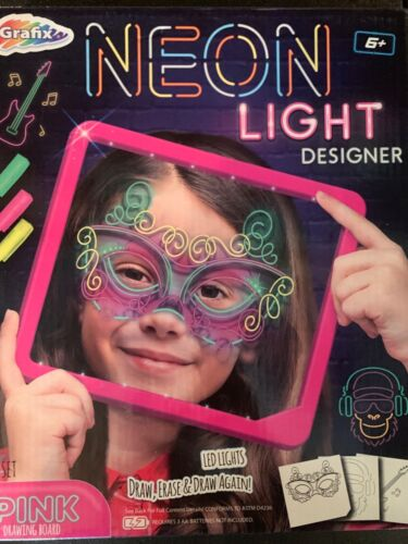 Granfix Kids Neon Light Designer. Pink Drawing Board Draw, Erase & Draw Again 6+
