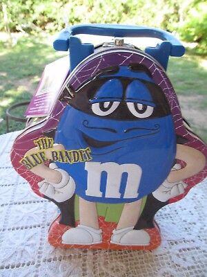 M&M LUNCH BOX TIN METAL BLUE GUY  BANDIT  HALLOWEEN  BOO NWT GALERIE 2004 - Halloween Lunch Box