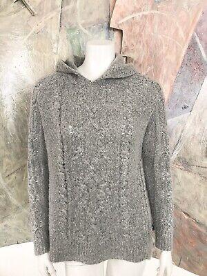 John + Jenn Womens Cableknit Grey Gray Hoodie Hooded And Pullover Sweater Medium