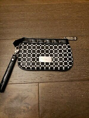 Betsey Johnson Black and White Pouch Wristlet Cosmetic Bag