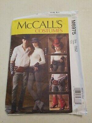 McCalls 6975 Unisex (Sm-Xl) Steampunk Spats Hats, Belts, Fingerless Gloves Sewin