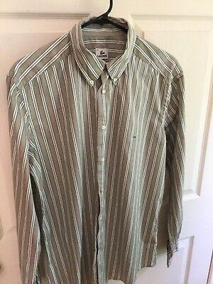 Lacoste Men's 42 Button Front Dress Shirt Brown White Green Striped