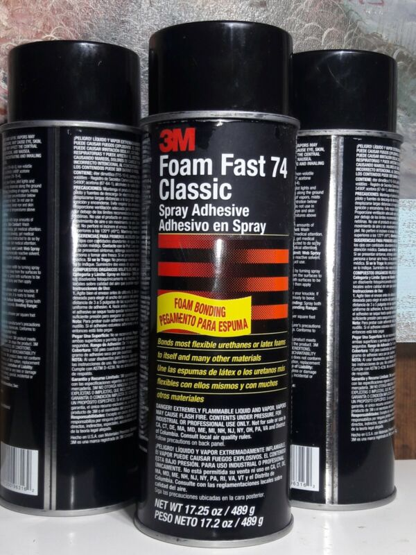 3M Foam Fast Classic 74 Spray Adhesive 17.25oz. Can - 3 Pack - Free Shipping!