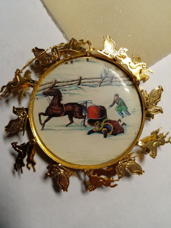 Danbury Mint Currier & Ives Gold tone Christmas Ornament Falling Off Sleig/Horse