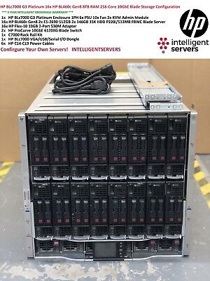 HP BLc7000 G3 16x HP BL460c Gen8 256-Cores 8TB RAM 10GbE Blade Server Solution