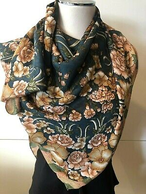 Silk & Rayon Mix Crepe Dark Green & Tan Combo Floral, Stripe Scarf 54cm x 54cm  Dark Tan Combo