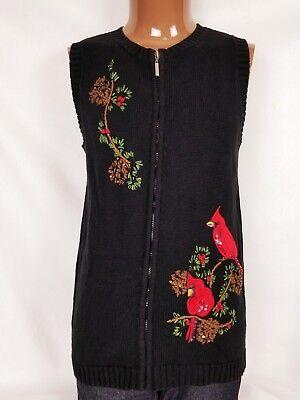 Quaker Factory Womens Medium Winter Cardinal Sweater Vest