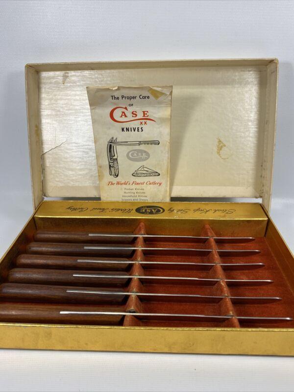 Vintage CASE XX CAP 254 Bull Nose Steak Knife Set Of 6 Wood Handles Box & Paper