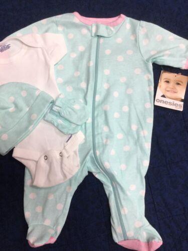 Newborn baby girl Onesies Brand 4 pc footie, mitts, hat, bod