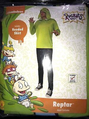 NEW NIP RUGRATS HALLOWEEN COSTUME adult XL REPTAR HOODED SHIRT GREEN nice @@ (Rugrat Halloween Costumes)