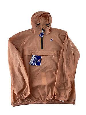 $110 K•WAY Windbreaker Waterproof Hooded Peach Pink Jacket Regular Fit XL