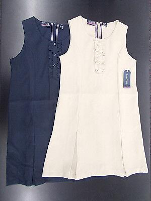 Girls Nautica $36 Navy or Khaki Uniform Jumper Dresses w/ Ruffles Size 7 - 16 (Girls Dresses 7 16)