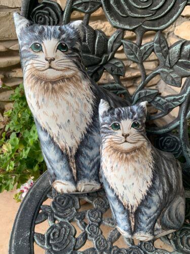 Vintage Handmade Stuffed Cat & Kitten Folk Art Grey & White Tabby Set of 2