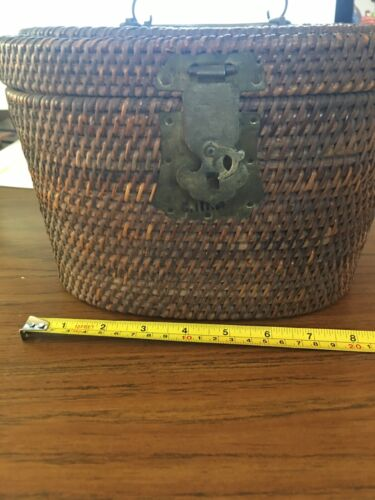 vintage asian tea set, padded floral wicker basket, 4 pieces, marked CHINA
