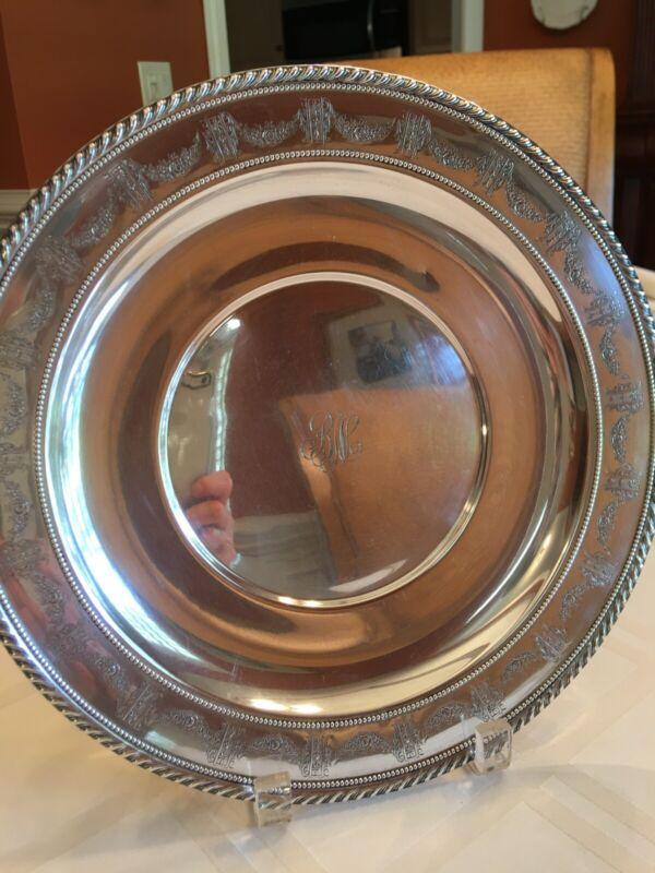 "Vintage Sterling Silver Charger or Serving plate, 11""   329g"