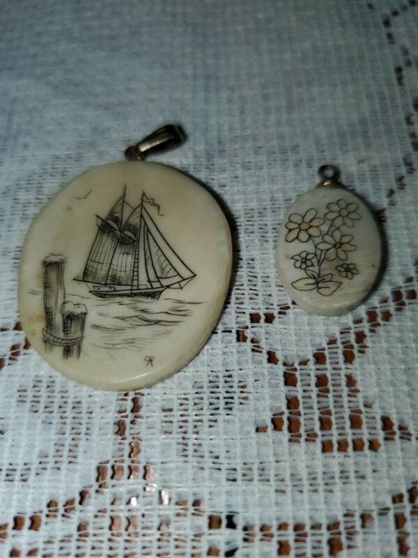 Lot Of 2 Scrimshaw Pendants