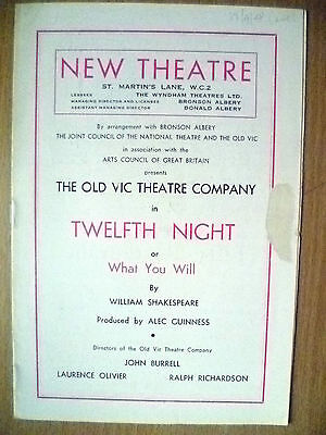 NEW THEATRE PROGRAMME 1948- TWELFTH NIGHT BY WILLIAM SHAKESPEARE