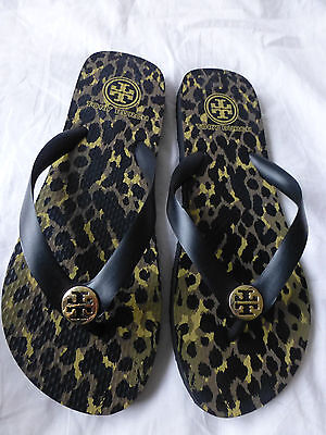 TORY BURCH Leopard Flip Flop Sandals Black Size 8 New Without Box