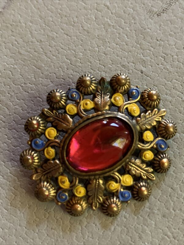 Vintage Antique Blue Yellow Enamel Brooch Pin Czech Red Glass Cabochon C Clasp