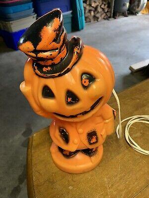 Vintage Lighted Halloween Pumpkin Scarecrow Blow Mold