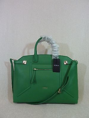 NWT FURLA Emerald Green Leather Lrg Top Handle Alice Satchel Bag Made in Italy