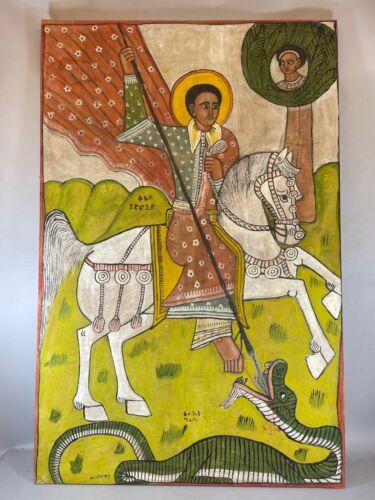 210504 - Large ANTIQUE Ethiopian Coptic Church Painting - Ethiopia.