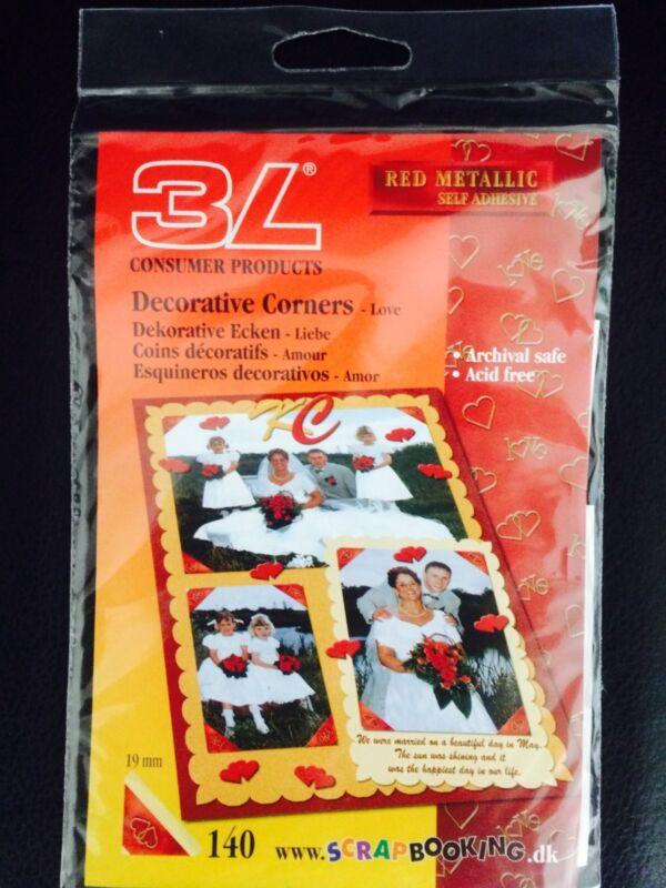 Scrapbook Adhesives Red Metallic Deco Photo Corners Self-Adhesive 140 Ct.  LOVE