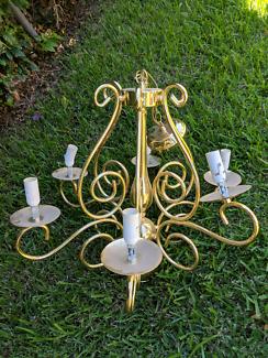 Large gold, six light, chandelier