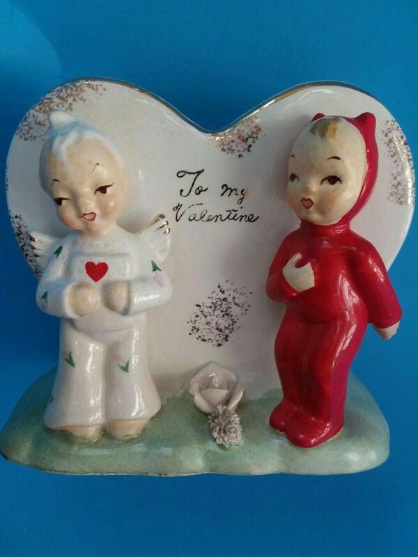 Vintage NAPCO Planter Vase Valentine's Day Angel Devil Heart  S692V - AS IS