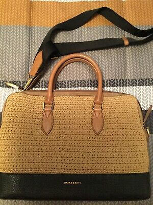 Burberry Straw & Leather Bag with shoulder strap - VINTAGE RARE STYLE