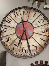 XXL 29 ANTIQUED IVORY RED ROUND LARGE NUMBERS WALL CLOCK VINTAGE RUSTIC FINISH