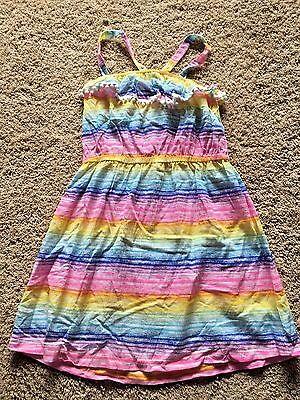 NWT Girls Rainbow Sleeveless Cover Up Woven Dress Large 10/12 (Rainbow Girl Dress Up)
