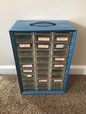 Vintage Blue Metal Storage Cabinet AKRO-MILLS  18 Plastic