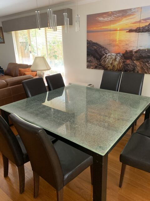 Decorative Designer Crackled Glass Dining Table 8 Chairs Dining Tables Gumtree Australia Perth City Area Perth 1263240696