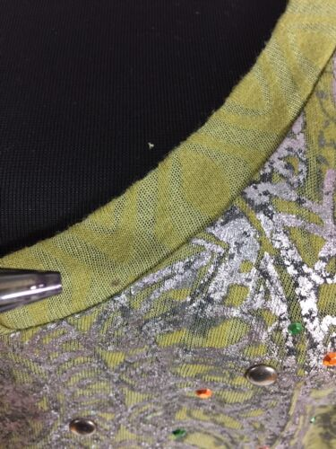 New Eyeshadow Army Green Lotus Bejeweled Bohemian Top Shirt sz M