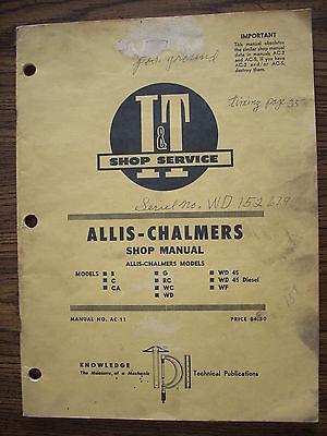 Allis Chalmers B C Ca G Rc Wc Wd Wd45 Wd45 Diesel Wf Service Manual